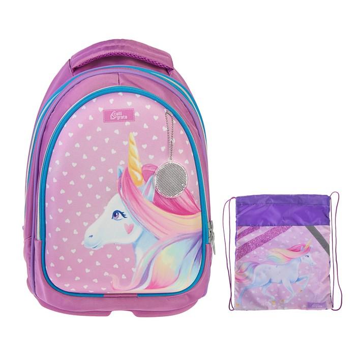 Рюкзак каркасный Calligrata, 39 x 28 x 18 см, мешок для обуви, для девочки, «Единорог в горошек», голубой