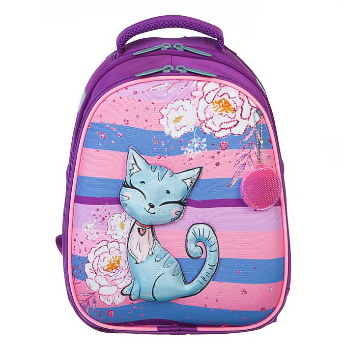 Рюкзак каркасный Calligrata, 38 x 30 x 16 см, для девочки, «Котёнок с блёстками», сиреневый - фото 369757437