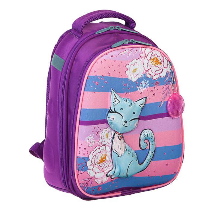 Рюкзак каркасный Calligrata, 38 x 30 x 16 см, для девочки, «Котёнок с блёстками», сиреневый - фото 369757438