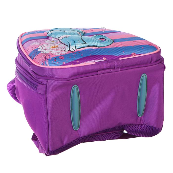 Рюкзак каркасный Calligrata, 38 x 30 x 16 см, для девочки, «Котёнок с блёстками», сиреневый - фото 369757447