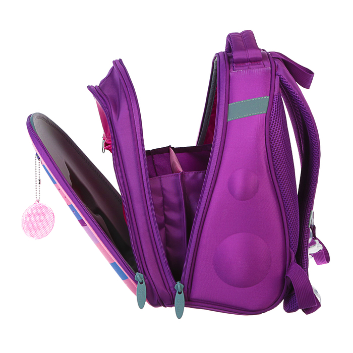 Рюкзак каркасный Calligrata, 38 x 30 x 16 см, для девочки, «Котёнок с блёстками», сиреневый - фото 369757444