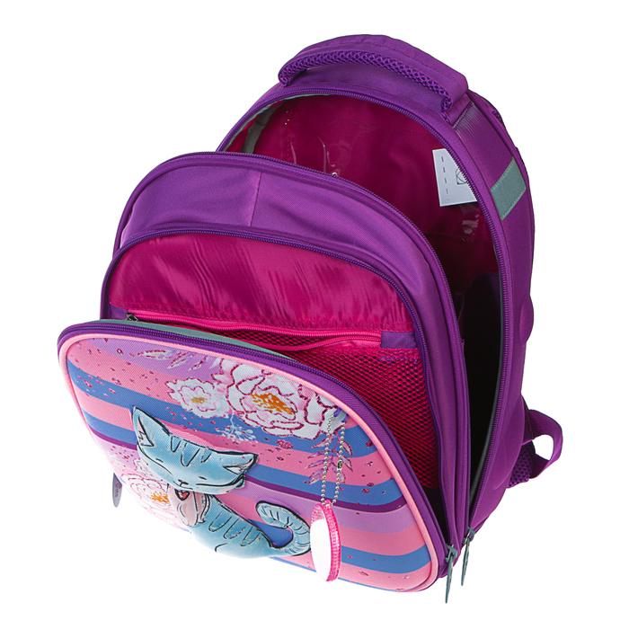 Рюкзак каркасный Calligrata, 38 x 30 x 16 см, для девочки, «Котёнок с блёстками», сиреневый - фото 369757445