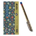 Ручка гелевая 0.5 мм, синяя, корпус «Цветы», с рифленым держателем