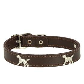 """Ошейник кожаный """"Флер"""" украшенный """"Собака"""", ОШ 30-38 х 2 см, коричневый"""