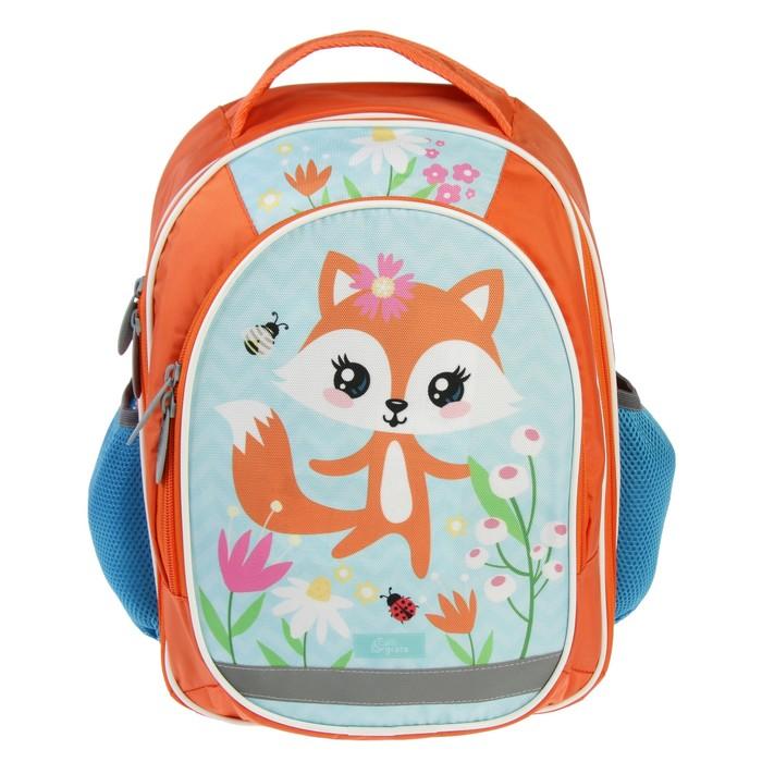 Рюкзак школьный с эргономической спинкой Calligrata Бонус 37x27x16 см для девочки, «Лисичка»