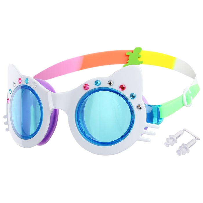 Очки для плавания «Кошечка», детские, со стразами, цвет белый