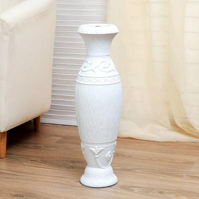 """Ваза керамика напольная """"Помпея"""" d(отверстия)-8.5см, 16х60 см талия белая"""