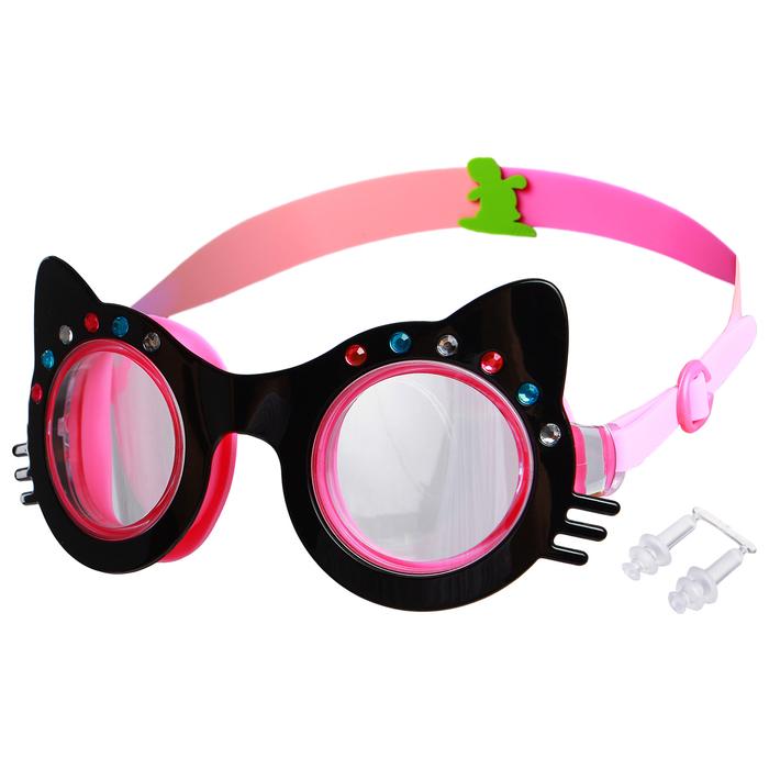 Очки для плавания «Кошечка», детские, со стразами, цвет чёрный