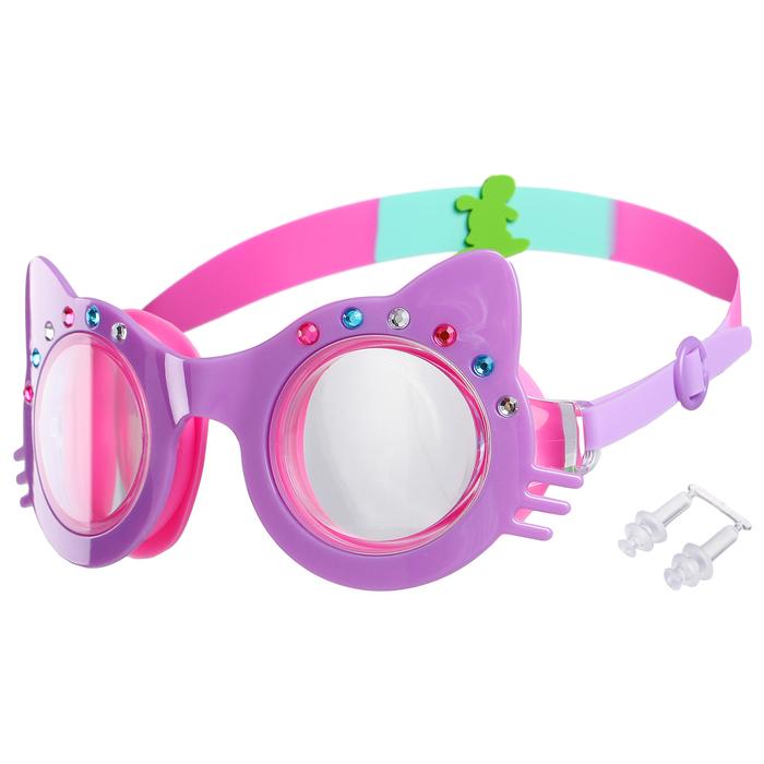 Очки для плавания «Кошечка», детские, со стразами, цвет фиолетовый