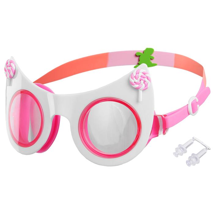 Очки для плавания «Кошечка», детские, цвет белый