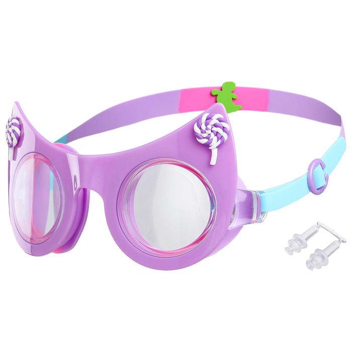 Очки для плавания «Кошечка», детские, цвет фиолетовый