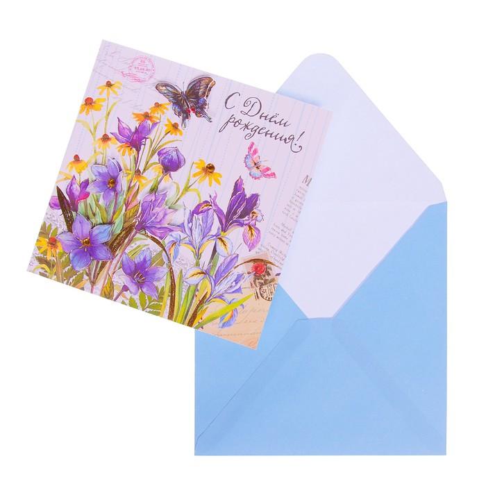 """Открытка """"С Днём Рождения!"""" накладной элемент, письма, цветы"""