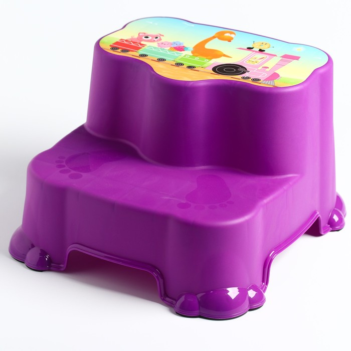 Табурет детский, двухступенчатый, цвет МИКС (розовый, фиолетовый, красный)