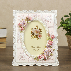 """Polyresin photo frame 10x15 cm """"Roses and forget-me-not"""" 20,5x16,5x1 cm"""
