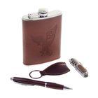 """Подарочный набор 4 в 1 """"Орёл"""": фляжка 240 мл + брелок, ручка и нож 7 в 1"""