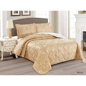 Комплект Gabriella: покрывало 240 × 260 см, наволочки 50 × 70 см - 2 шт, золотой