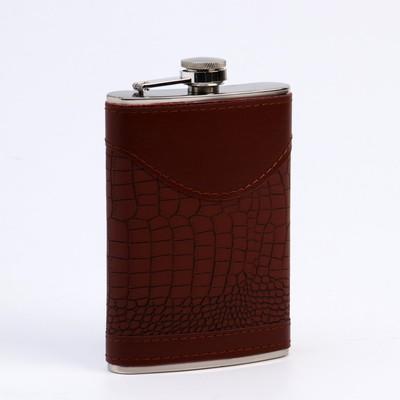 Подарочный набор 6 в 1: фляжка 270 мл, воронка, 4 рюмки, коричневый, 17х21 см