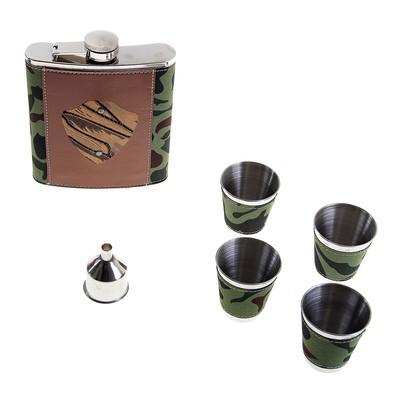 Набор подарочный 6в1: фляжка 240 мл, 4 рюмки, воронка, хаки