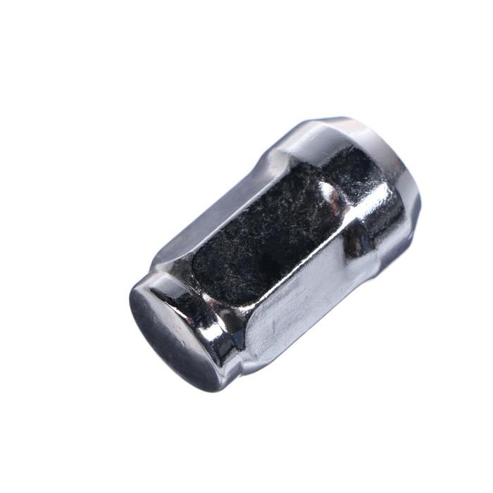 Гайка колесная 12x1.5 под ключ 17 мм, конус, закрытая, хром, фасовка 20 шт