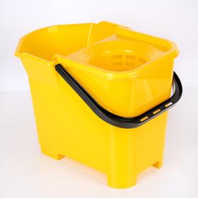 Ведро со сливом и отжимом для швабры МОП, цвет жёлтый
