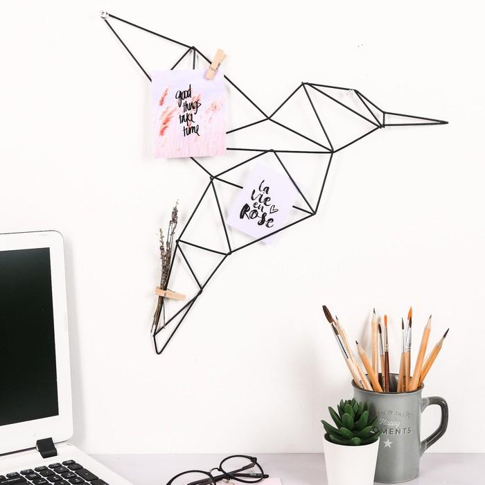 Декоративное металлическое панно (прутья) «Колибри», 42 × 37 см