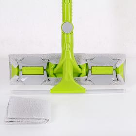 Окномойка с телескопической стальной ручкой и сгоном, 30×5×119(145) см, поворотная головка, микрофибра - фото 4644493