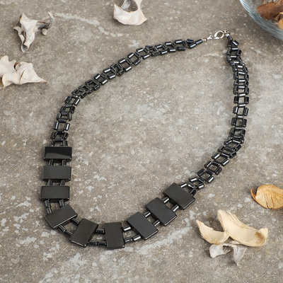 "Necklace ""Hematite"" rectangular plate on balls"