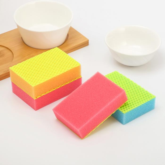 Набор губок для посуды 10×6.8×2,5 см, 4 шт, цвет МИКС