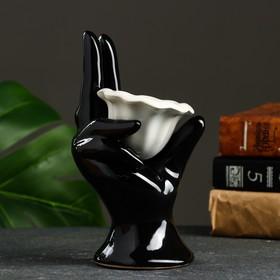 """Подставка под мелочи и кольца """"Рука"""" черная, 10х8х17см"""