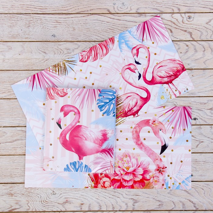 Обложка со вставками «Фламинго», 21×35 см