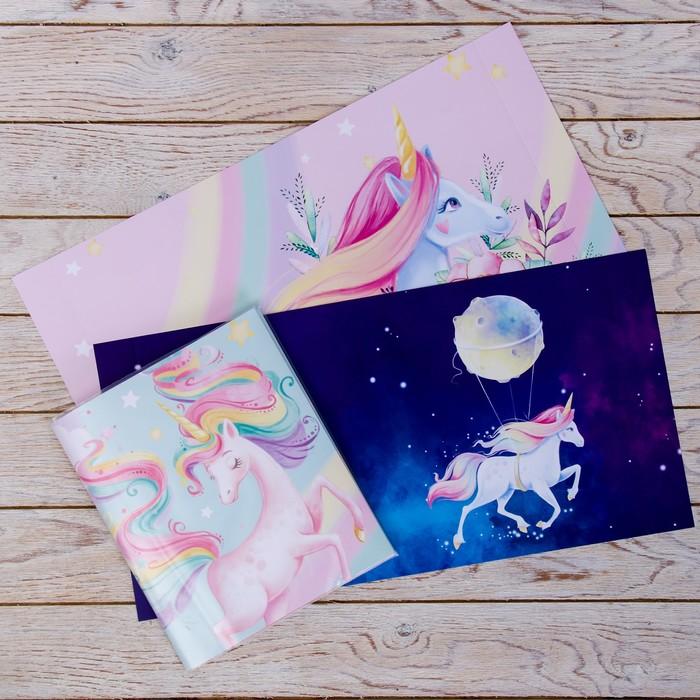 Обложка со вставками «Единороги», 21×35 см