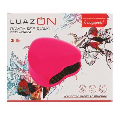 Лампа для гель-лака LuazON LUF-03, LED, 3 Вт, розовая + инструменты для маникюра в ПОДАРОК