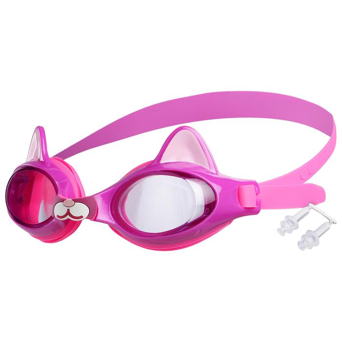 Очки для плавания «Котёнок», детские, цвет фиолетовый