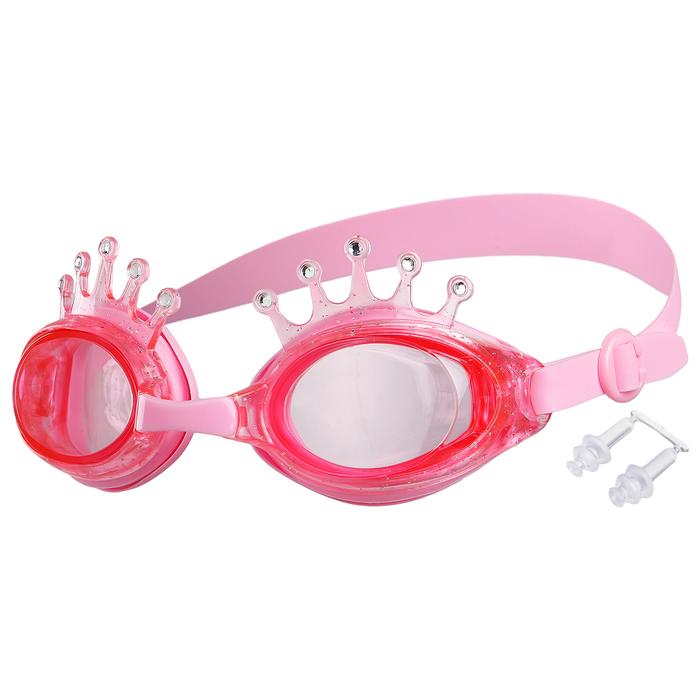 Очки для плавания «Корона», детские, цвет розовый