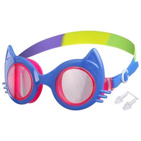 Очки для плавания «Кошечка», детские, цвет голубой