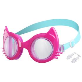 Очки для плавания «Кошечка», детские, цвет фуксия