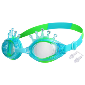 Очки для плавания «Корона», детские, цвет салатово-голубой