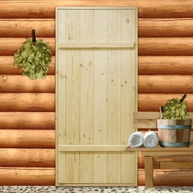 """Дверной блок для бани, 160×80см, из сосны, на клиньях, массив, """"Добропаровъ"""""""