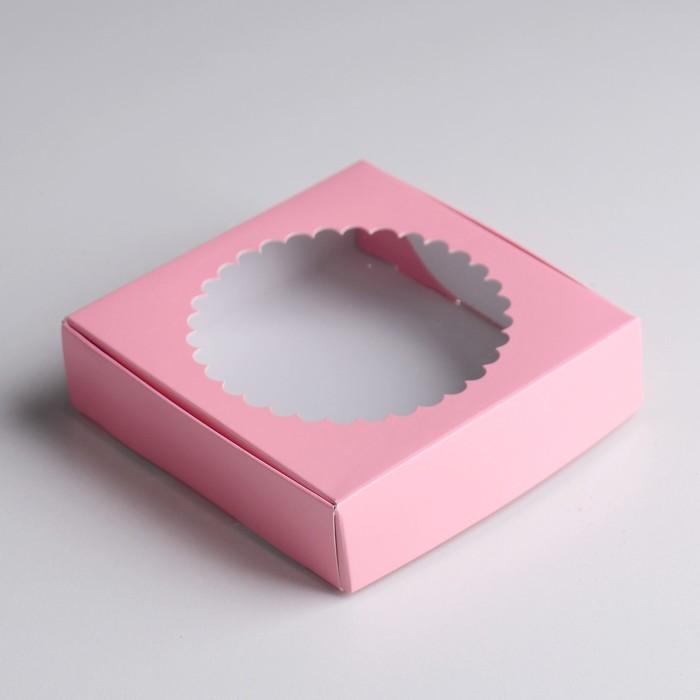 Подарочная коробка сборная с окном, розовый, 11,5 х 11,5 х 3 см - фото 308035682