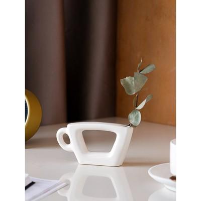 """Ваза """"Чашка"""" белая, глазурь, глянец, 7 см"""