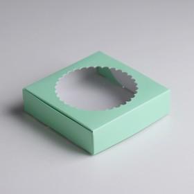 Team gift box with window, green, 11.5 x 11.5 x 3 cm