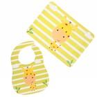 Набор для кормления, 2 предмета: нагрудник непромокаемый, коврик для кормления, цвет жёлтый - фото 105449222