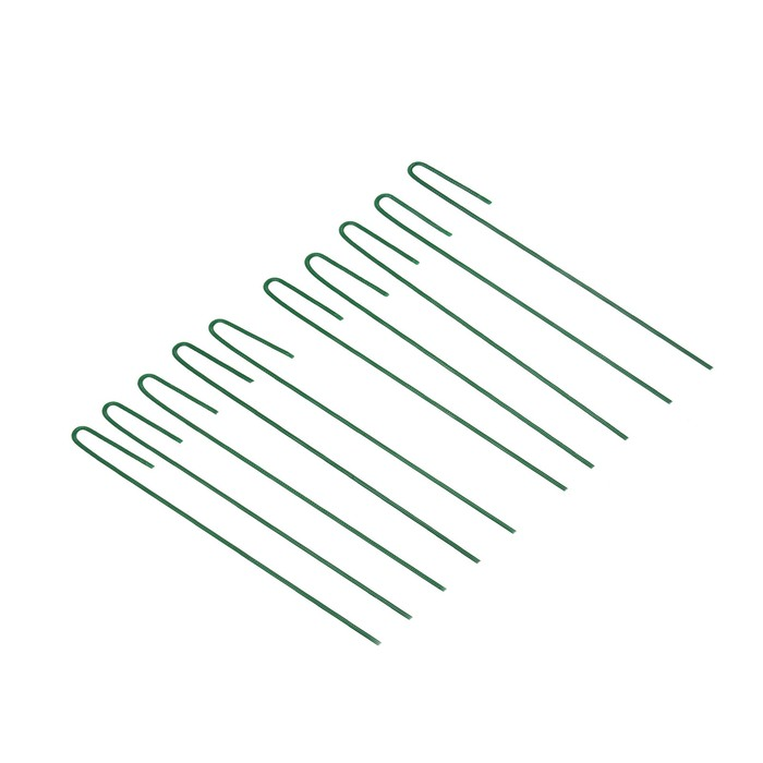 Колышек универсальный, h = 30 см, ножка d = 0.3 см, набор 10 шт., зелёный, Greengo