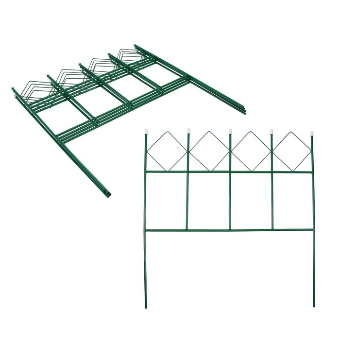 Ограждение декоративное, 71 × 345 см, 5 секций, металл, зелёное, «Кубик» - фото 282122612
