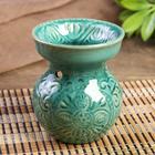 """Аромалампа керамика """"Растительный орнамент"""" зелёная 11х9,2х9,2 см"""
