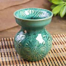Аромалампа керамика 'Растительный орнамент' зелёная 11х9,2х9,2 см Ош