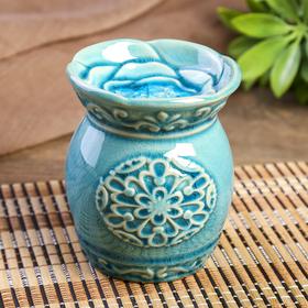 Аромалампа керамика 'Цветочное мехенди' голубая 11х9х9 см Ош
