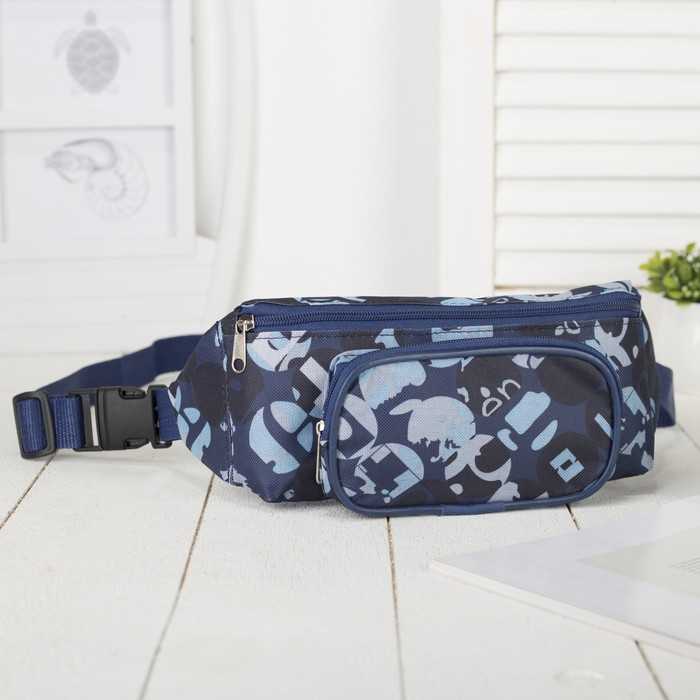 Сумка поясная, отдел на молнии, наружный карман, цвет синий/голубой