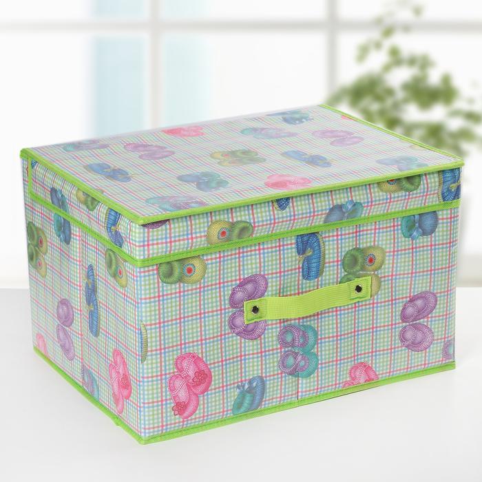 Короб для хранения с крышкой «Тапочки», 40×31×25 см - фото 308332001