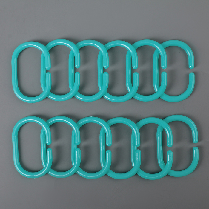 Набор крючков для штор 12 шт, цвет голубой